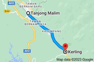 Map from Tanjong Malim, Perak, Malaysia to Kerling, Selangor, Malaysia