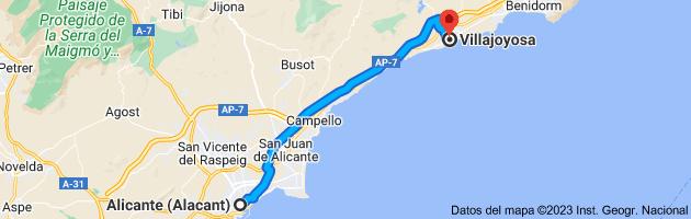 Mapa de Alicante (Alacant), Alicante a Villajoyosa, 03570, Alicante