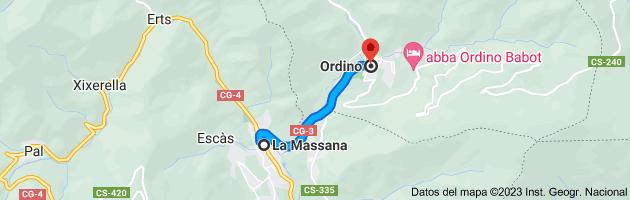 Mapa de La Massana, AD400, Andorra a Ordino, AD300, Andorra
