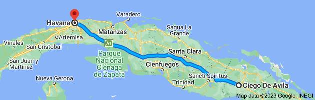 Map from Ciego De Avila, Cuba to Havana, Cuba