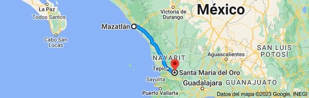 Mapa de Mazatlán, Sinaloa, México a Santa María del Oro, Nayarit, México