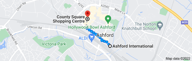 Map from Ashford International, Ashford TN23 1EZ to County Square Shopping Centre, 108 Elwick Rd, Ashford TN23 1YB