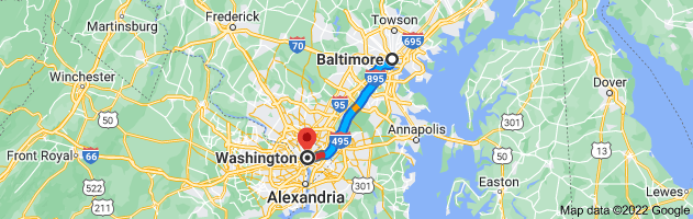 Map from Baltimore Maryland to Washington District of Columbia