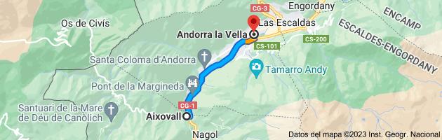 Mapa de Aixovall, Andorra a Andorra la Vieja, AD500, Andorra