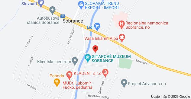 Mapa oblasti Profesora Hlaváča 5, 073 01 Sobrance