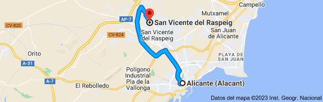 Mapa de Alicante (Alacant), Alicante a San Vicente del Raspeig, Alicante