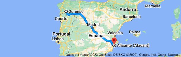 Mapa de Orense, Ourense a Alicante (Alacant), Alicante