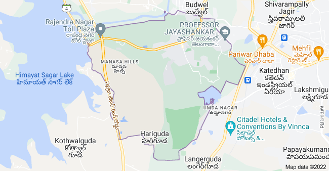 Map of Rajendranagar mandal, Hyderabad, Telangana, India