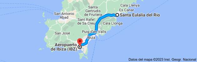 Mapa de Santa Eulalia del Río, Islas Baleares a Aeropuerto de Ibiza (IBZ), 07818 Sant Jordi de ses Salines, Islas Baleares