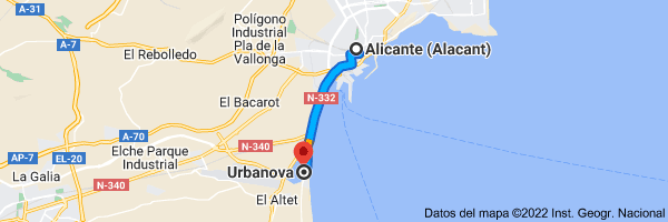 Mapa de Alicante (Alacant), Alicante a Urbanova, Alicante (Alacant), Alicante