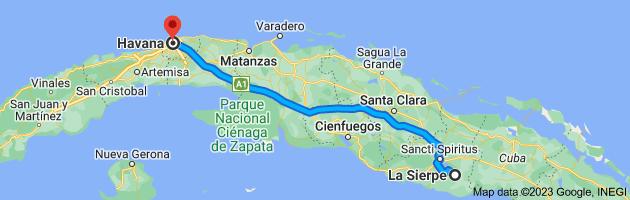 Map from La Sierpe, Cuba to Havana, Cuba