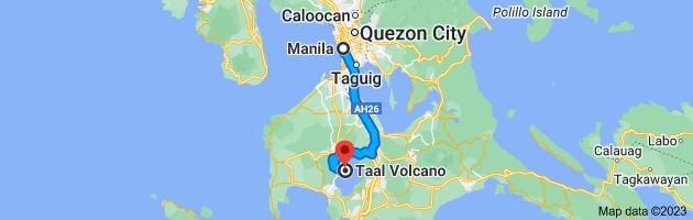 Map from Manila, Metro Manila to Taal Volcano, Talisay