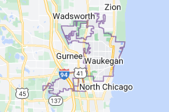 Map of Waukegan, Illinois
