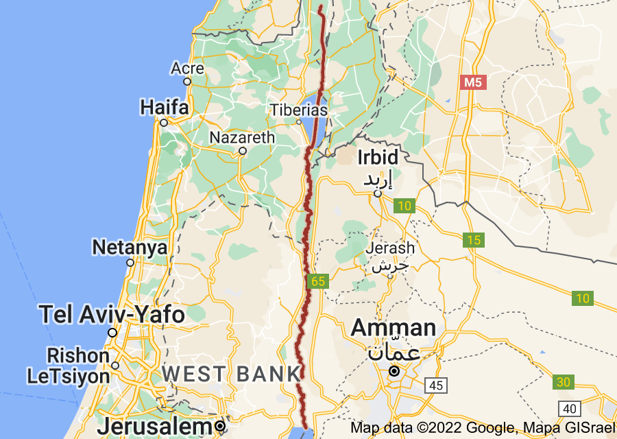 Location of Jordan River