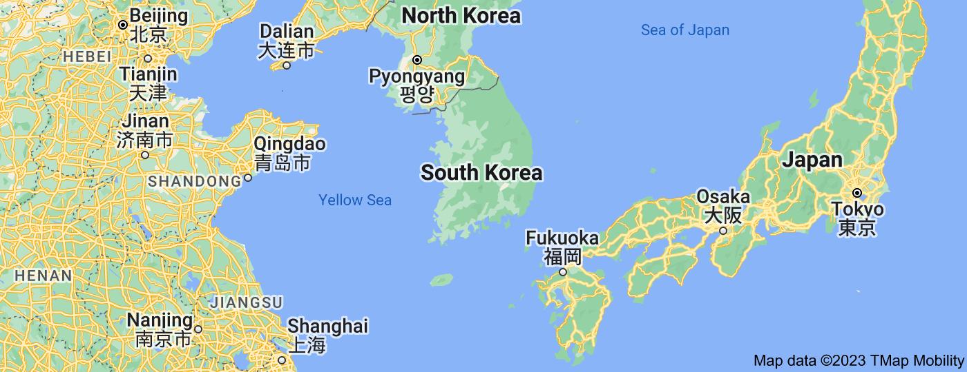 Location of South Korea