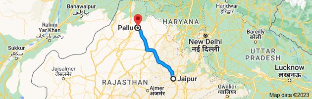 Map from Jaipur, Rajasthan to Pallu, Rajasthan 335524