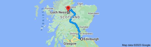 Map from Edinburgh, United Kingdom to Loch Ness, United Kingdom