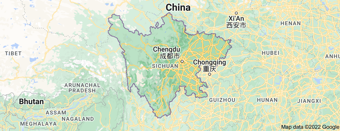 Location of Sichuan