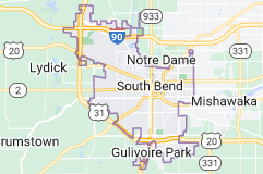 Map of South Bend, Indiana