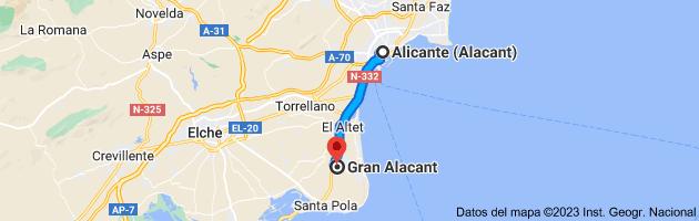 Mapa de Alicante a Gran Alacant, Alicante