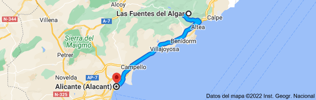 Mapa de Fuentes del Algar, Pda. Algar, s/n, 03510 Callosa d'en Sarrià, Alicante a Alicante (Alacant), Alicante