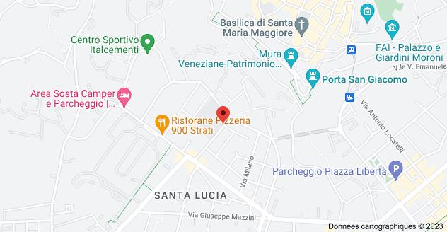 Via Santa Lucia, 9, 24128 Bergamo BG, Italie: carte
