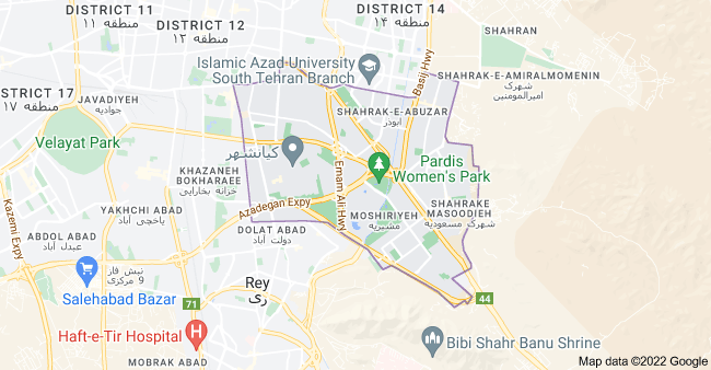 Map of District 15, Tehran, Tehran Province