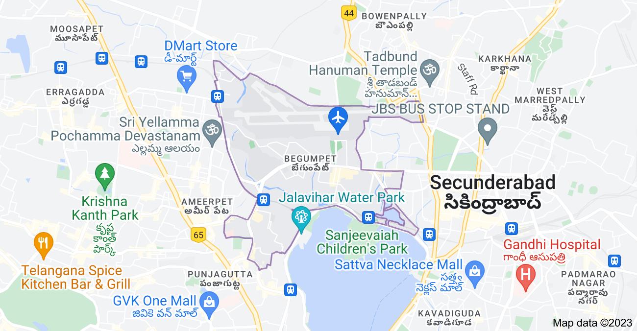 Map of Begumpet, Hyderabad, Telangana, India