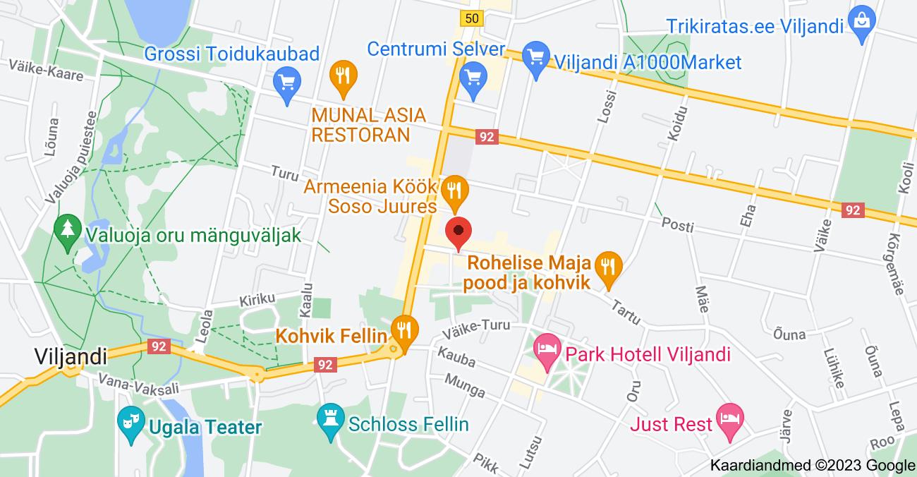 Asukoha Tartu 4, Viljandi, 71004 Viljandi maakond kaart