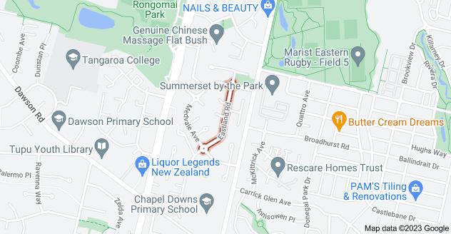 Location of Eastland Road