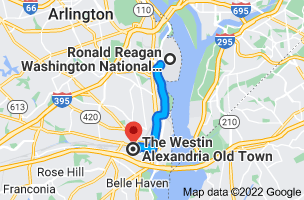 Map from Ronald Reagan Washington National Airport (DCA), Arlington, VA 22202 to The Westin Alexandria, 400 Courthouse Square, Alexandria, VA 22314
