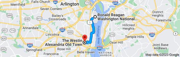 Map from Ronald Reagan Washington National Airport (DCA), Arlington, VA 22202 to The Westin Alexandria, 400 Courthouse Square, Alexandria, VA 22314
