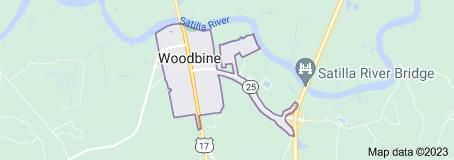 Map of Woodbine, Georgia