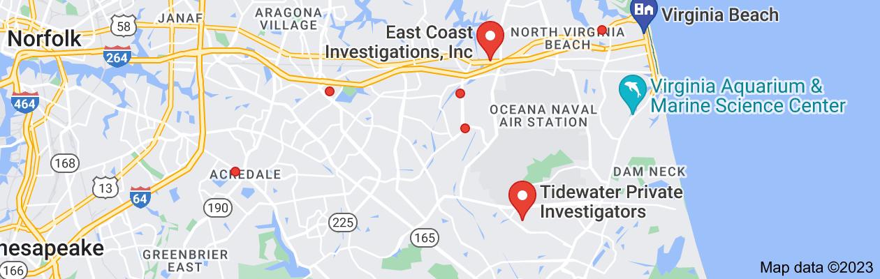 Map of private investigator virginia beach va