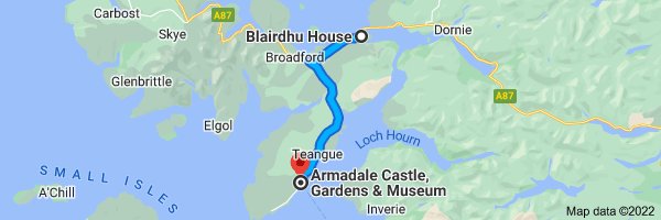Map from Blairdhu House, Old Kyle Farm Rd, Kyleakin IV41 8PR, UK to Armadale Castle, Gardens & Museum, Armadale Sleat, Isle of Skye IV45 8RS, United Kingdom