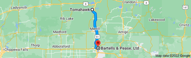 Map from Tomahawk, Wisconsin 54487 to Bartells & Pease, Ltd, 613 Forest St, Wausau, WI 54403