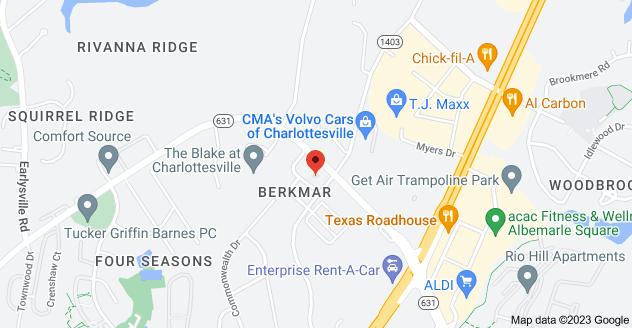 Map of 690 Berkmar Cir, Charlottesville, VA 22901