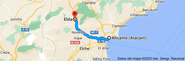 Mapa de Alicante a Elda, 03600, Alicante