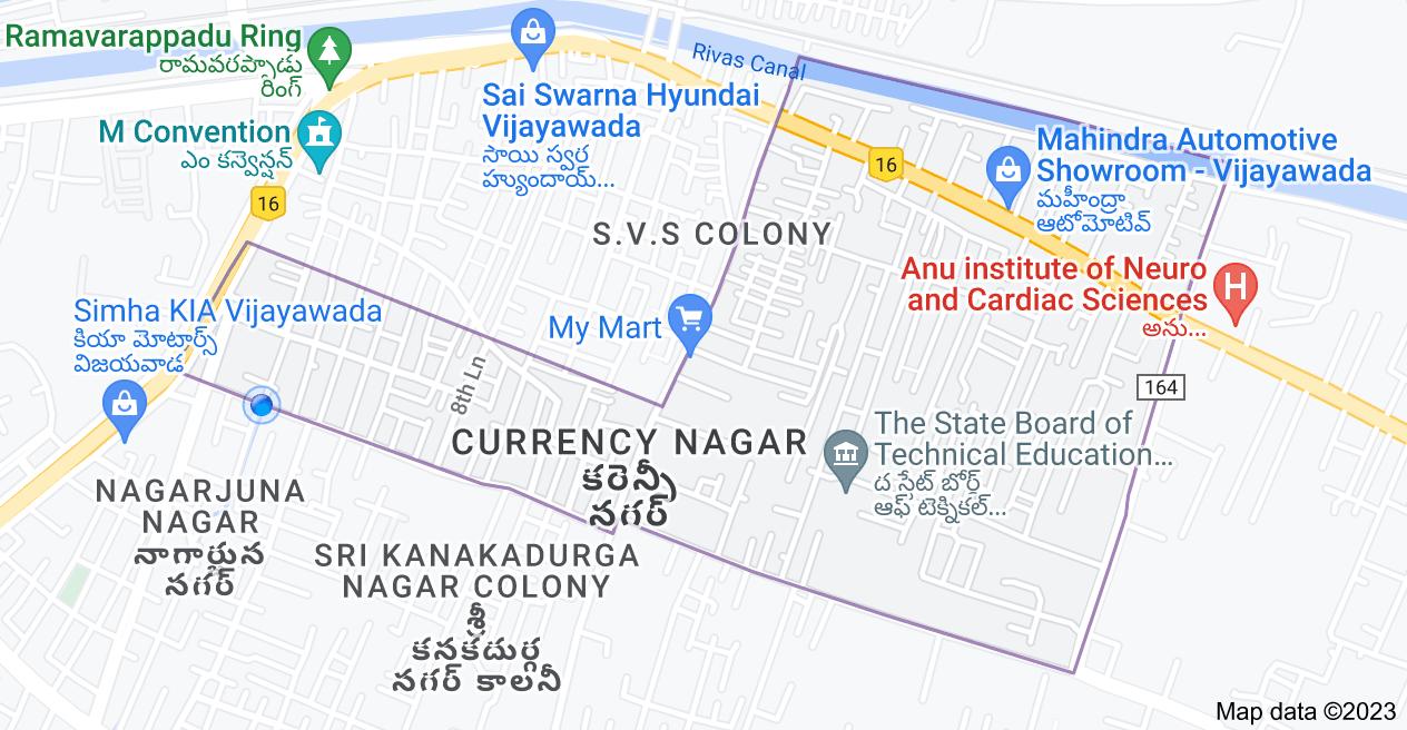 Map of currency nagar, Vijayawada, Andhra Pradesh