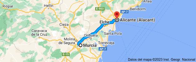 Mapa de Murcia a Alicante (Alacant), Alicante