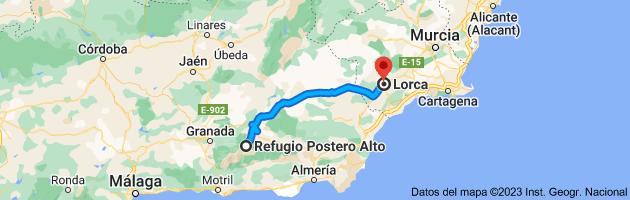 Mapa de Refugio Postero Alto, Parque Nacional de Sierra Nevada, 18518 Jerez del Marquesado, Granada a Lorca, 30800, Murcia
