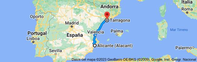 Mapa de Alicante a Tarragona