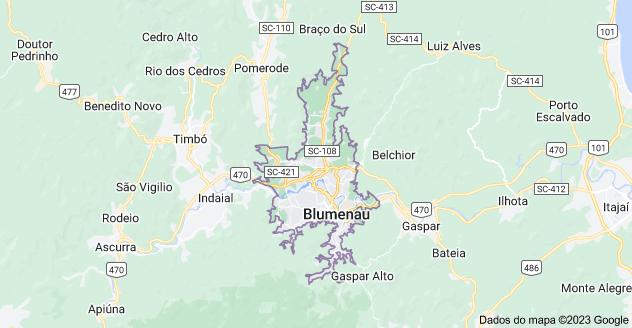 mapa da cidade para ajudar a decidir qual bairro morar em blumenau