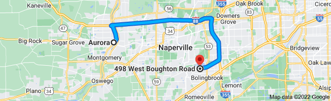 Map from Aurora to 498 W Boughton Rd