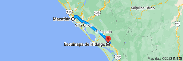 Map from Mazatlan, Sinaloa to Escuinapa, Sinaloa