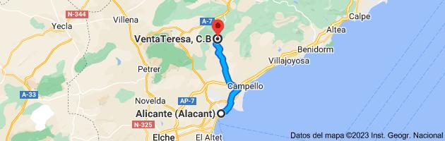 Mapa de Alicante (Alacant), Alicante a VentaTeresa, Puerto de la Carrasqueta - CV 800 (Km 22'5, 03100 Alicante