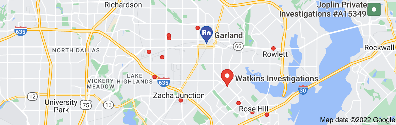 Map of private investigator garland tx