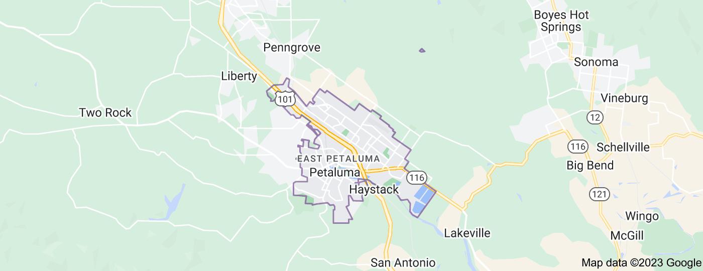 Location of Petaluma