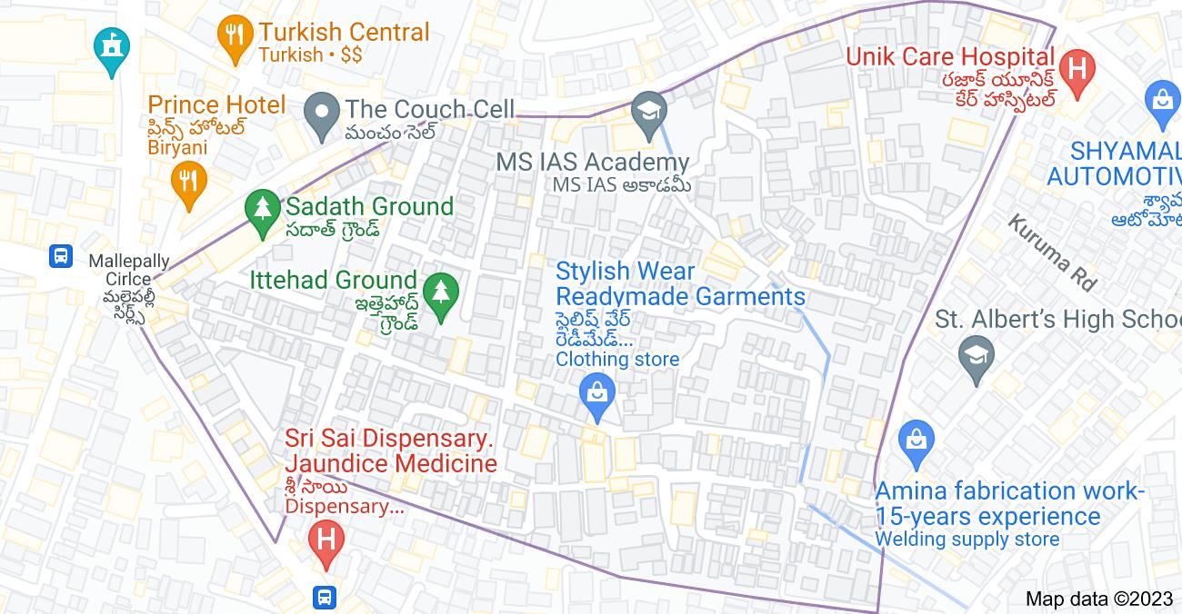 Map of Mallepally, Hyderabad, Telangana 500001, India