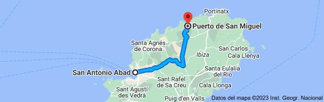 Mapa de San Antonio Abad, 07820, Islas Baleares a Puerto de San Miguel, 07815, Islas Baleares